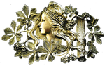 Art Nouveau Lady of the Woods jewelry element
