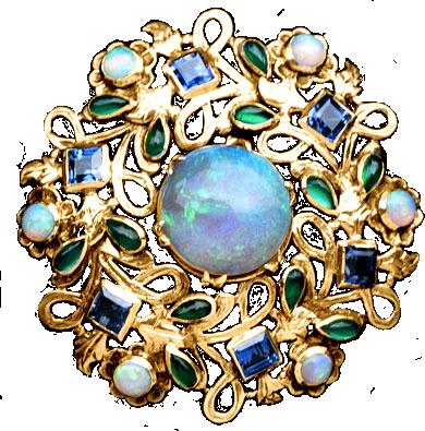 Art Nouveau Opal Bonanza - gold jewelry element