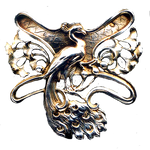 Art Nouveau Peacock jewelry element