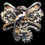 Art Nouveau Peacock jewelry element