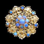 Art Nouveau Rainbow Moonstone flower gold jewelry