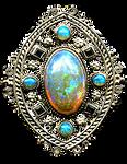 Art Nouveau Filigree Opals silver jewelry element