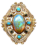 Art Nouveau Filigree Opals gold jewelry element by LilipilySpirit