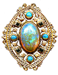 Art Nouveau Filigree Opals gold jewelry element