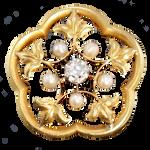 Art Nouveau Pearl and Diamond brooch