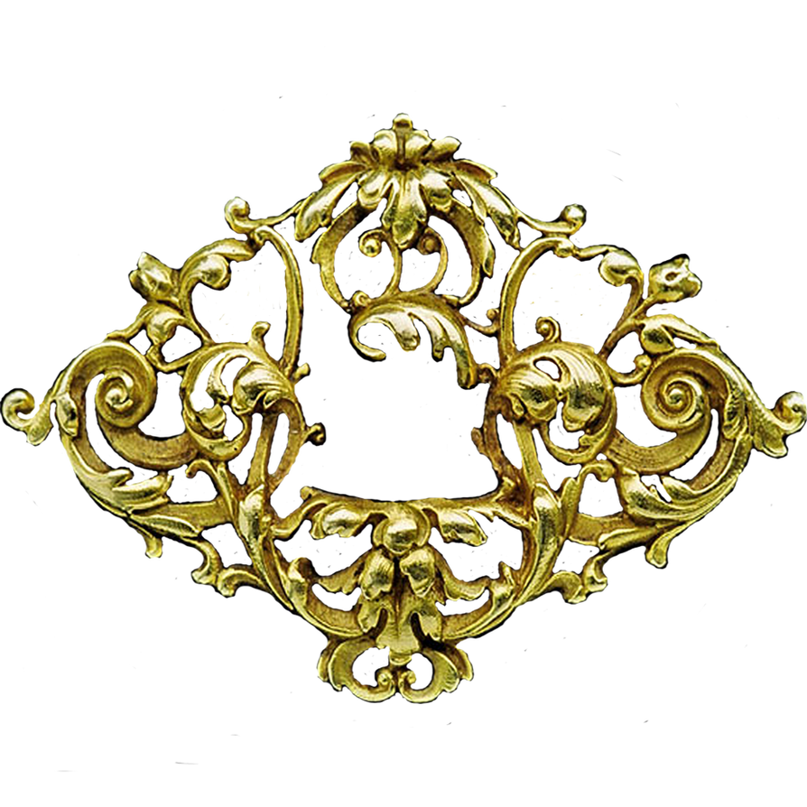 Art Nouveau Gold Filigree Badge Jewelry Element By