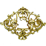 Art Nouveau Gold Filigree Badge jewelry element