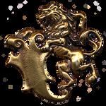 Tudor Rampant Lion with Shield jewelry element