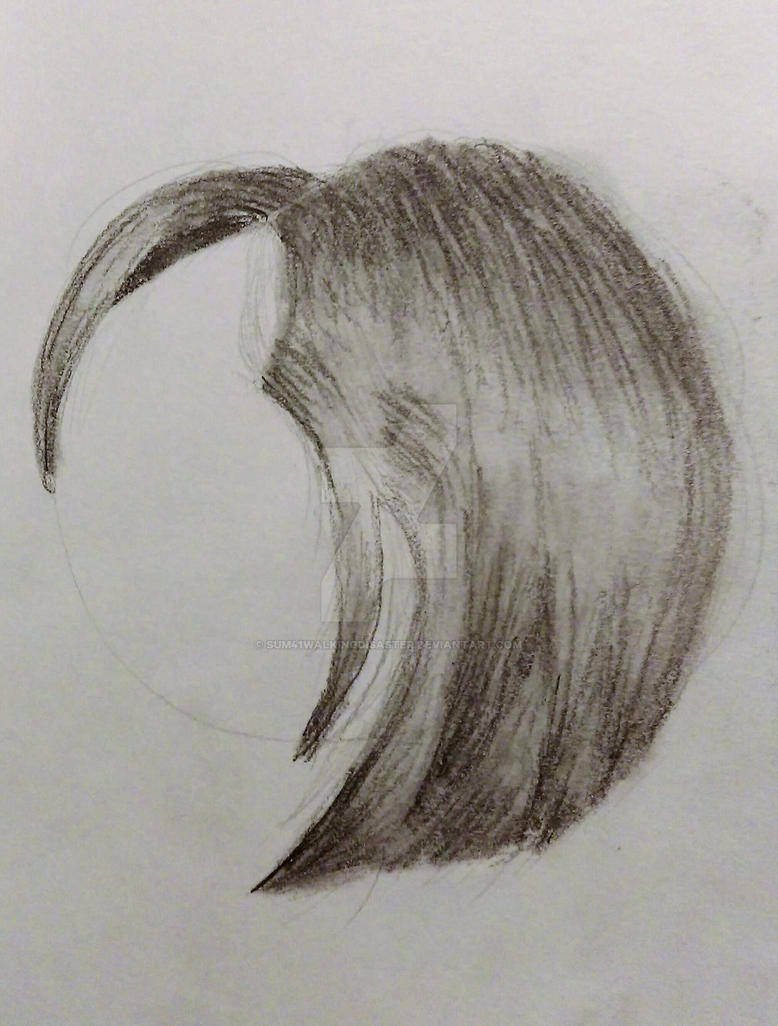 Short straight female hair pencil drawing by sum41walkingdisaster on