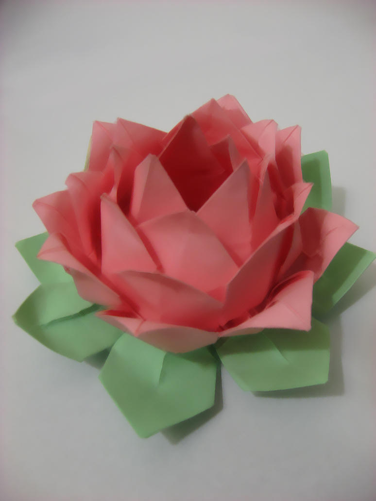 Origami colored lotus flower by uchiha yue on deviantart for How to make a lotus with paper