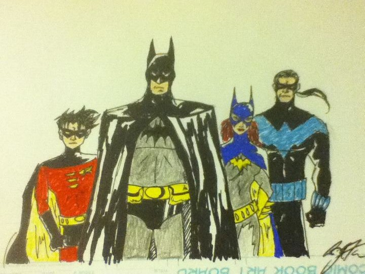 batman robin batgirl and nightwing by anthonyflores89 on