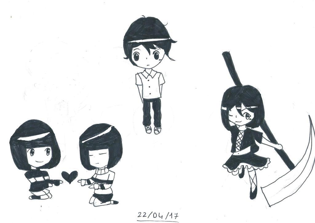 Ink chibis by Shizuko-Akatsuki