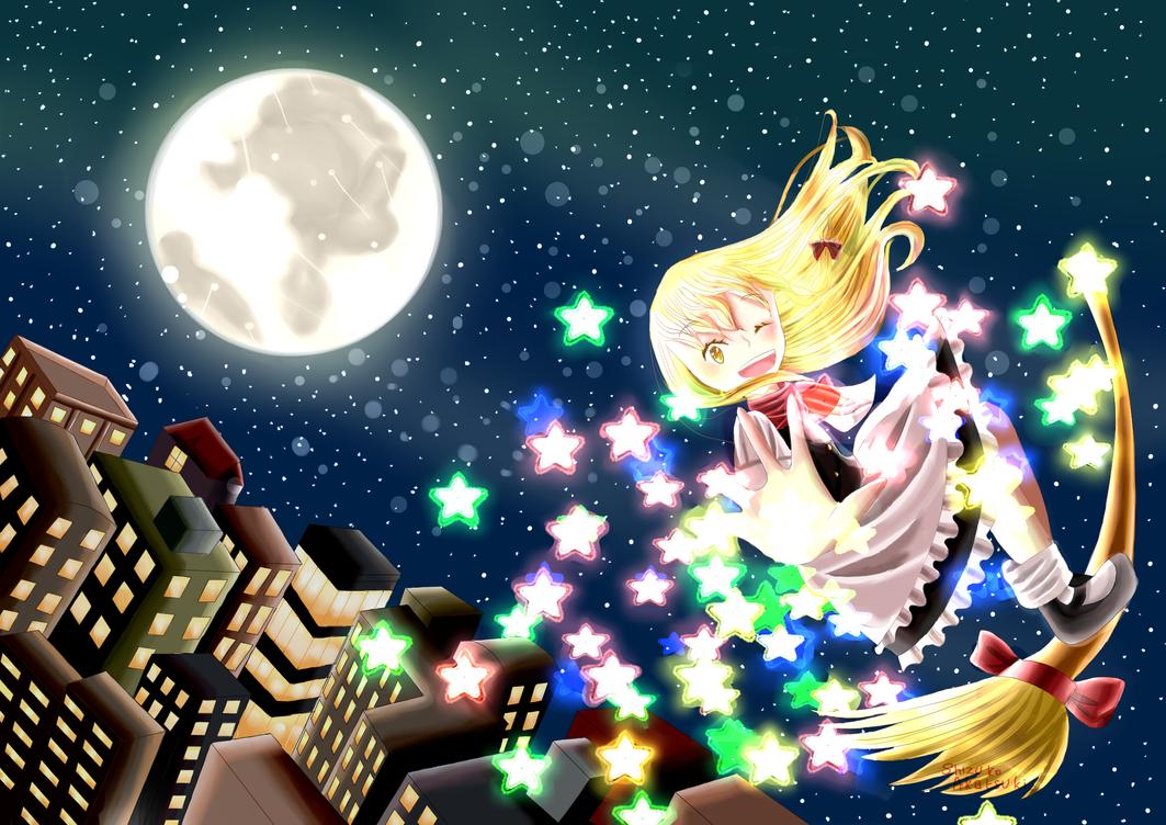Marisa Kirisame : Stardust Reverie (Redraw by Shizuko-Akatsuki