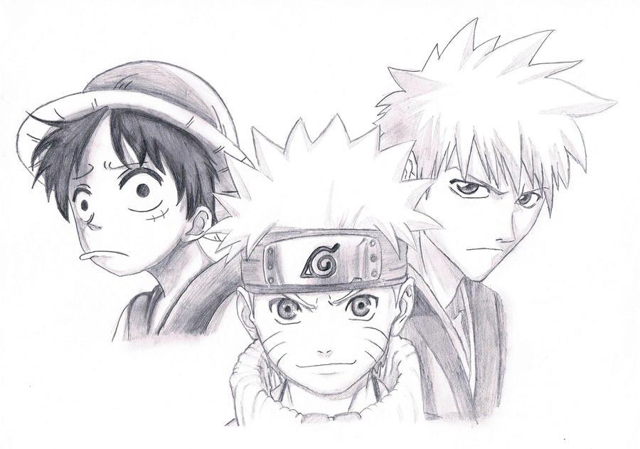 Luffy - Naruto - Ichigo by dani8795