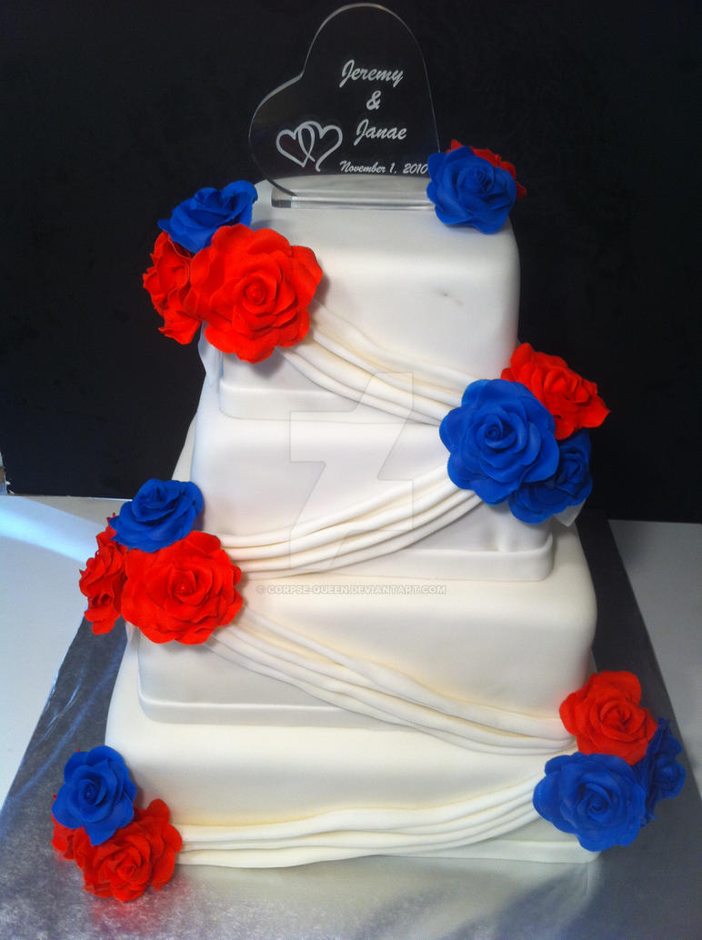 Red White And Blue Wedding Cake By Corpse Queen On Deviantart