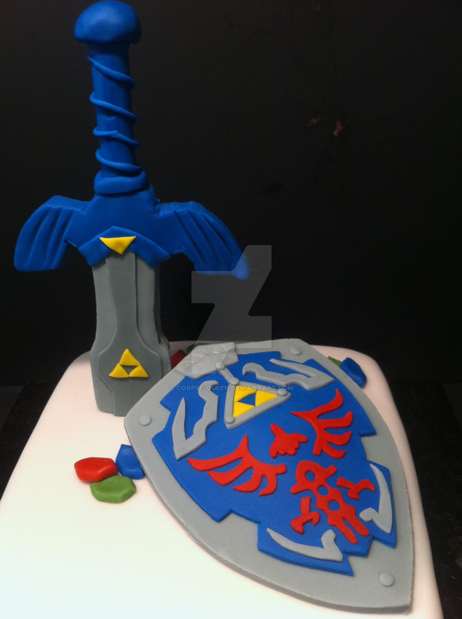 Legend of zelda fondant sword and shield by corpse queen for Cuisine zelda