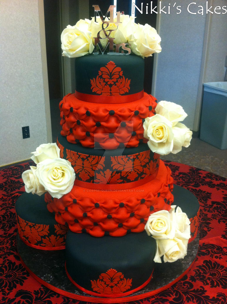 Red and black Damask Wedding Cake by Corpse-Queen
