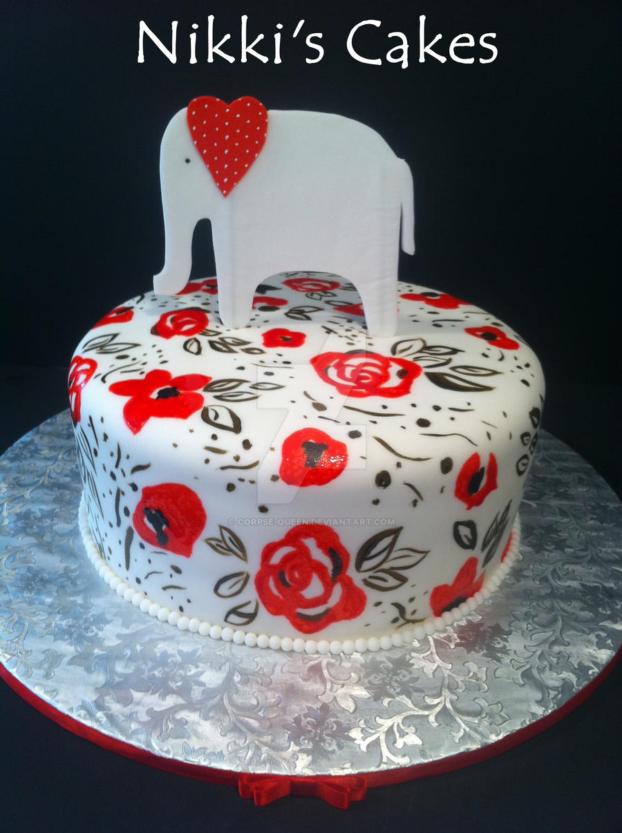 Hand Painted Elephant Babyshower Cake By Corpse Queen On Deviantart