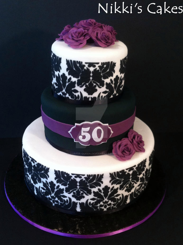 50th Birthday Purple Damask Cake by Corpse-Queen on DeviantArt
