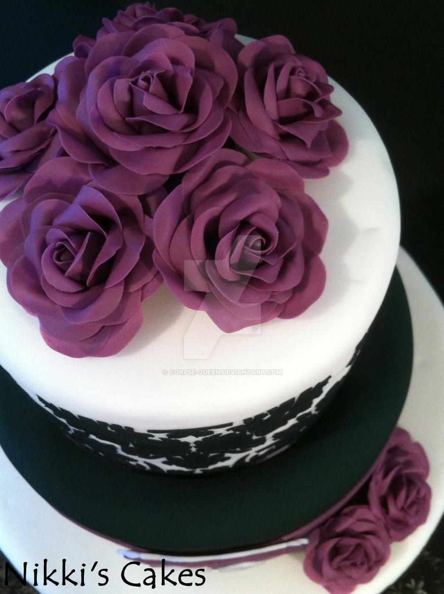 50th Birthday Purple Damask Cake 3 By Corpse Queen