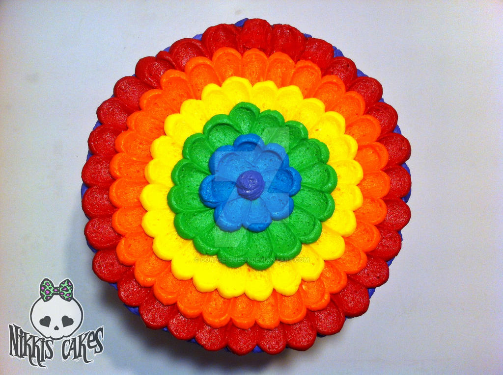 Cake Images Top View : Rainbow Buttercream Petal Cake (top view) by Corpse-Queen ...