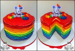 Rainbow Ruffle Buttercream Cake