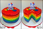 Rainbow Ruffle Buttercream Cake