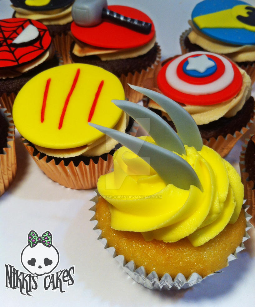 Wolverine Claw- Superhero cupcakes by Corpse-Queen