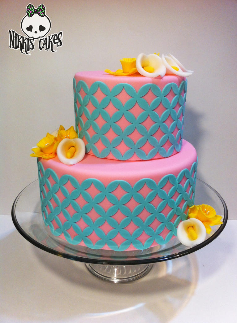 Pink and Teal Easter Cake by Corpse-Queen