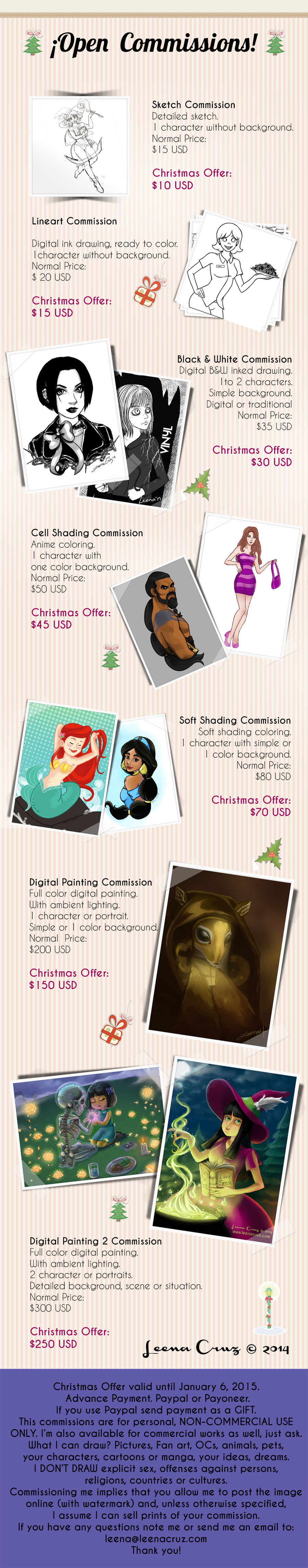 OPEN COMMISSIONS - Take advantage of the Holidays! by LeenaCruz
