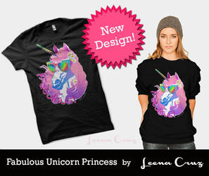 Fabulous Unicorn Princess T shirt by LeenaCruz