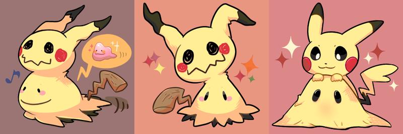 Ditto, Mimikyu, Pikachu by Phyllismi