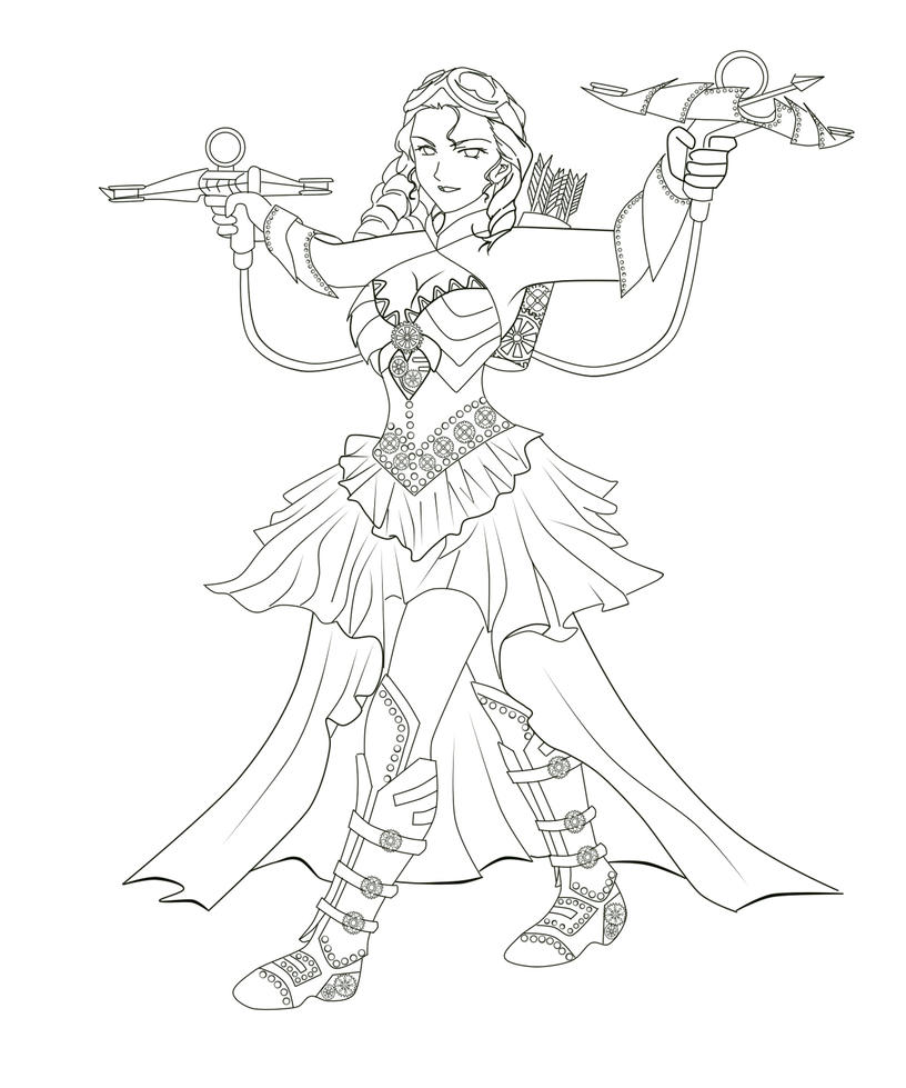 steampunk coloring pages - steampunk zombie hunter by tokiseraph on deviantart