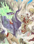 Zilla Jr. versus Titans (colored) by McTalon