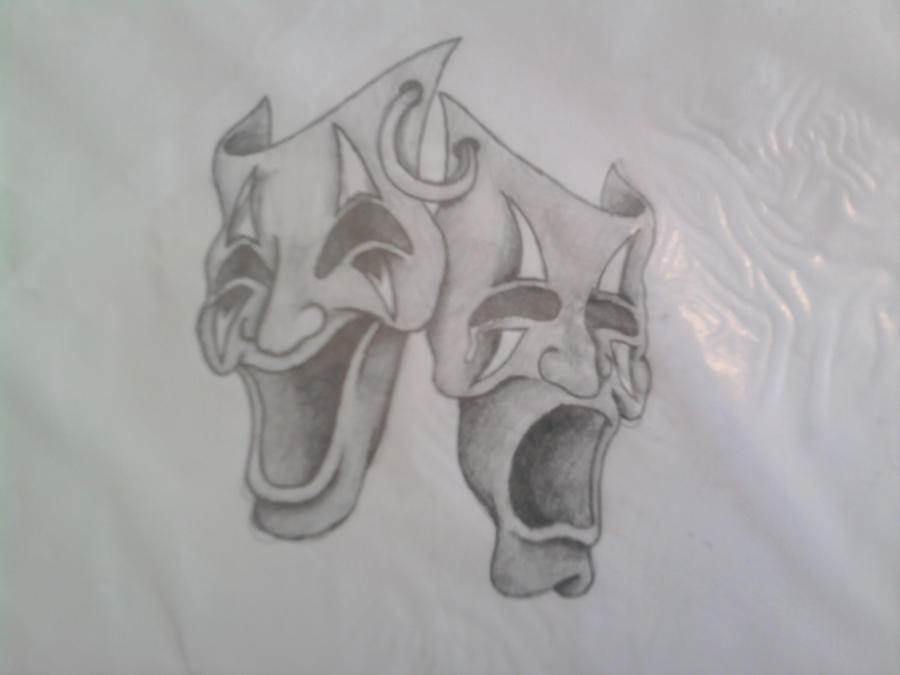 Theatre Mask Tattoo Design By