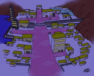 Goldenrod City (Night) by WillDrawForFood1