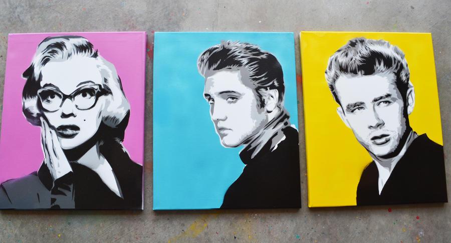 Monroe, Presley, Dean by SimplySaraArt