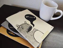 Monster Notebooks and Coffee by SimplySaraArt