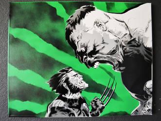 Wolverine vs The Hulk by SimplySaraArt