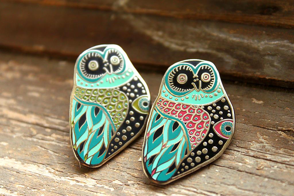 Mystic Owl Pins by AngelaRizza