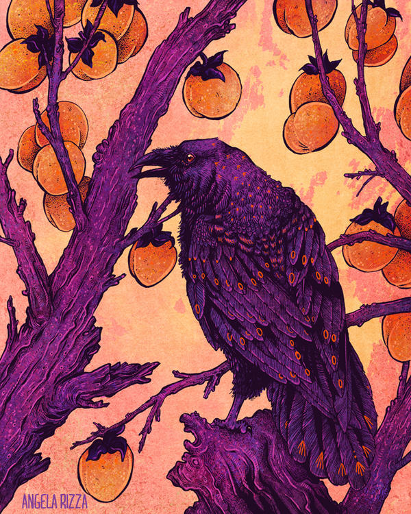 Raven and Persimmons by AngelaRizza