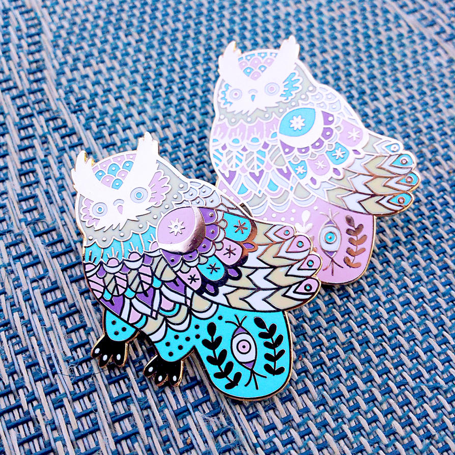 Celestial Owl Pins by AngelaRizza