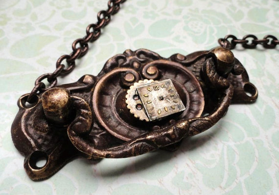 Steampunk Jewelry Door Knocker Necklace by Ilyssteamcrafts