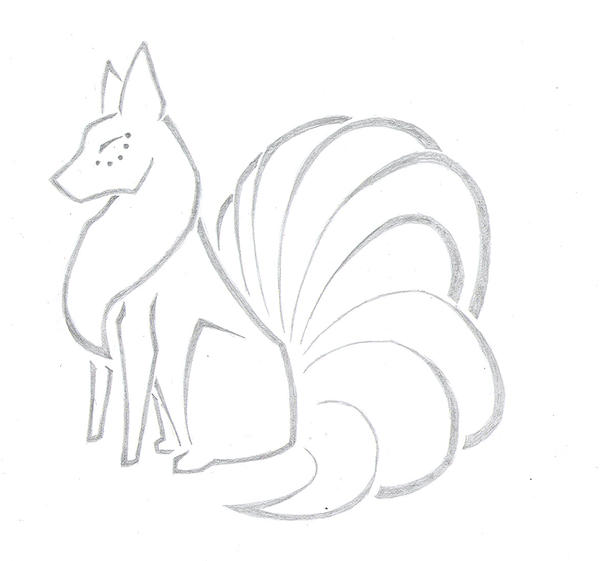 how to draw the 9 tailed fox