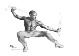 Fight pose shading study