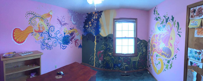Tangled Inspired Inside Tower Rapunzel Mural By Nymphaeanerd On Deviantart