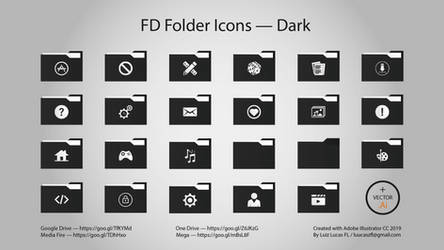 Pack | Flat Design Folder Icons - Dark by LuizLucasFL