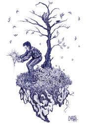 ballpoint pen sketch: tree