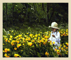 girl amid  yellow flowers by szklanytygrys