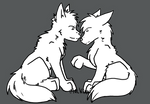Wolf Canine Couple Lineart